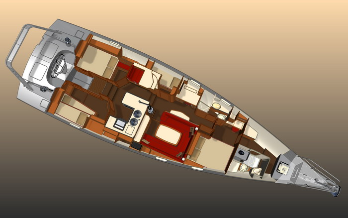 Explorer 54 aluminum sail yacht - interior layout