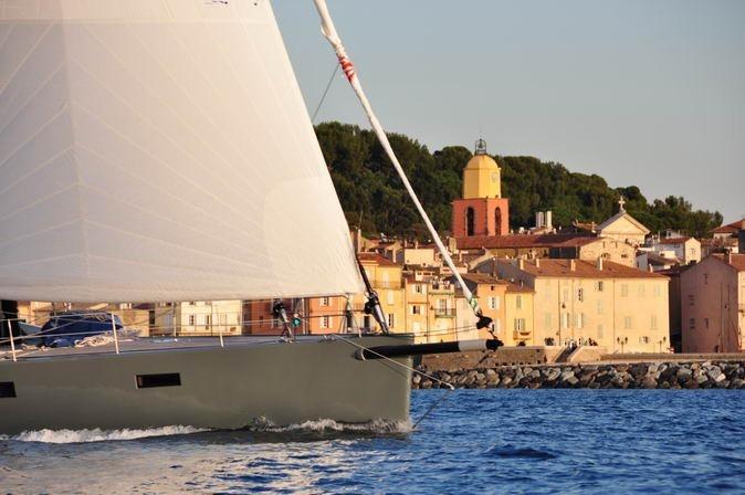 aluminum yacht sailing in Mediteranean