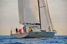 futuna70 alu composite sailboat under sail in med