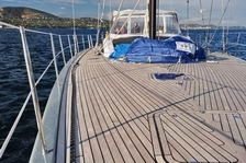 futuna70 teak deck work under sail