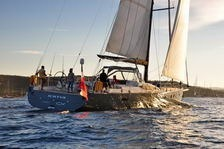 Sailing in St Tropez with aluminum composite sail yacht Futuna 70